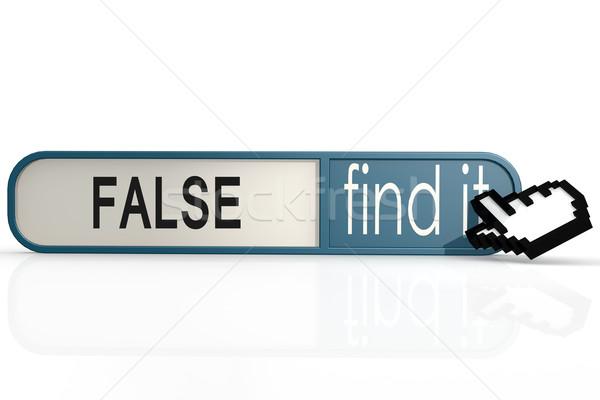 Falso palavra azul encontrar bandeira imagem Foto stock © tang90246