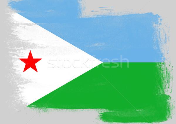 Banderą Dżibuti malowany szczotki solidny streszczenie Zdjęcia stock © tang90246