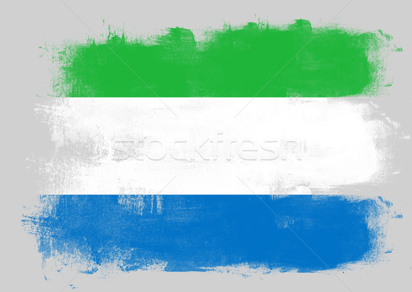 Flag of Sierra Leone painted with brush Stock photo © tang90246