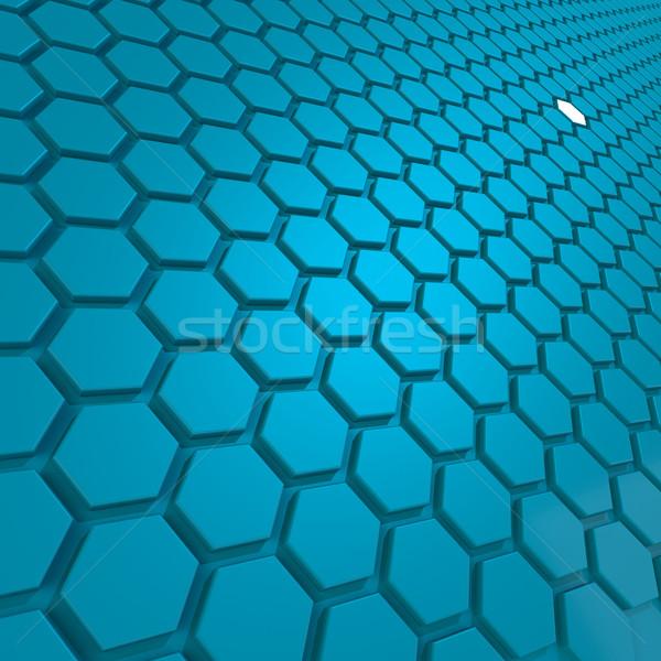 Kék hatszög kép renderelt mű használt Stock fotó © tang90246
