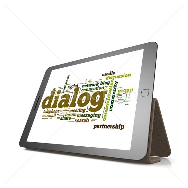 Dialog word cloud on tablet Stock photo © tang90246