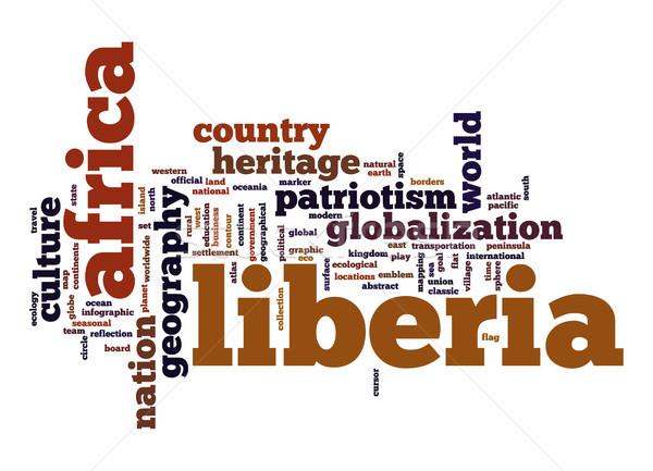 Libéria nuvem da palavra negócio mundo África nuvem Foto stock © tang90246