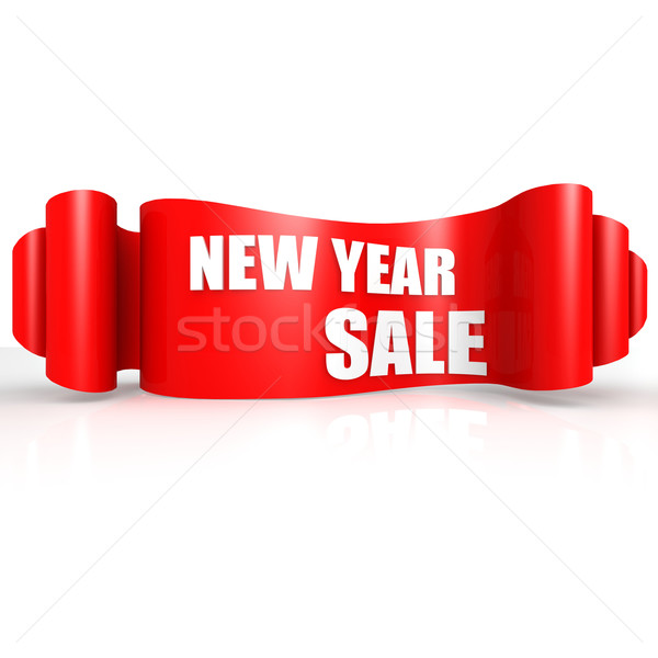 New year sale red wave ribbon Stock photo © tang90246