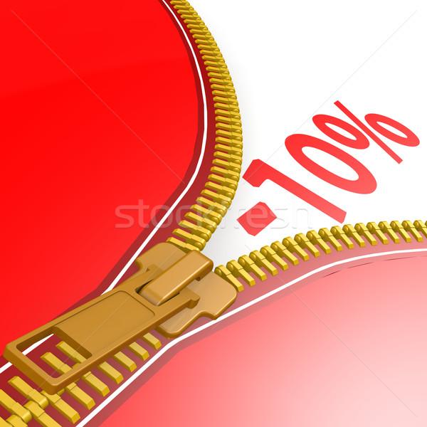 Zipper with ten percent off Stock photo © tang90246
