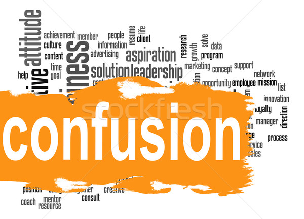 Confusion word cloud with yellow banner Stock photo © tang90246