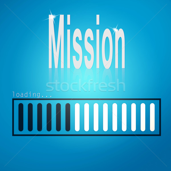 Stock photo: Mission blue loading bar