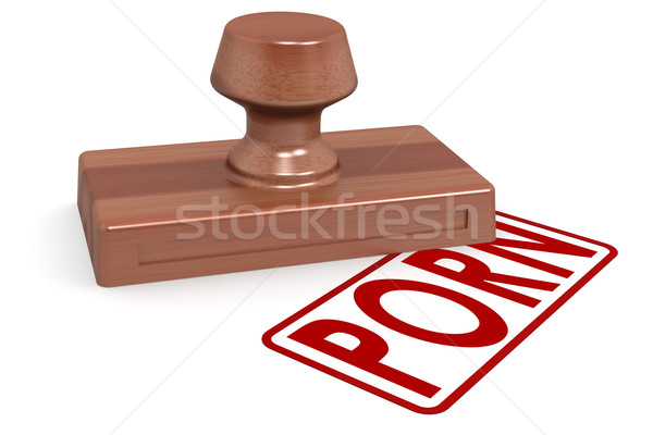 Wooden stamp porn with red text Stock photo © tang90246