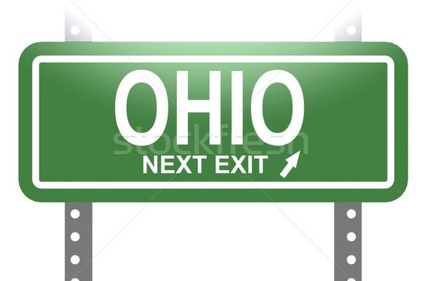 Ohio groene teken boord geïsoleerd afbeelding Stockfoto © tang90246