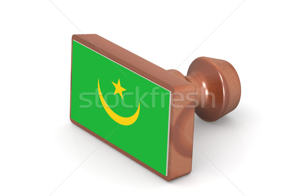 Wooden stamp with Mauritania flag Stock photo © tang90246