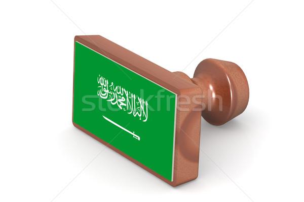 Ahşap damga Suudi Arabistan bayrak görüntü render Stok fotoğraf © tang90246