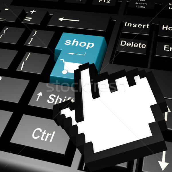 Magasin clavier main curseur fond bleu Photo stock © tang90246