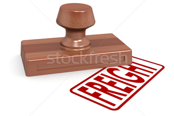 Wooden stamp freight with red text Stock photo © tang90246
