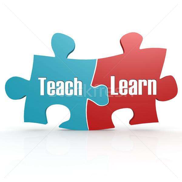 Azul vermelho ensinar aprender quebra-cabeça 3D Foto stock © tang90246