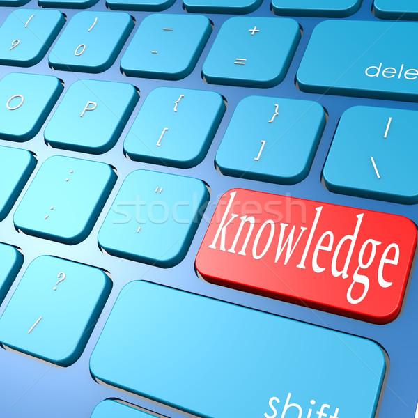 Tudás billentyűzet számítógép oktatás kék kulcs Stock fotó © tang90246
