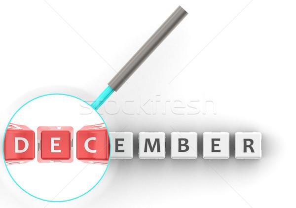 декабрь головоломки увеличительное стекло изображение оказанный Сток-фото © tang90246