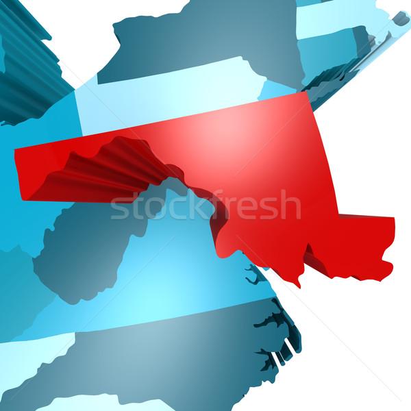 Maryland harita mavi ABD görüntü render Stok fotoğraf © tang90246