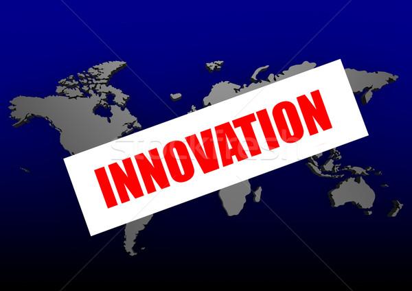 инновация слово синий Мир карта карта аннотация Сток-фото © tang90246