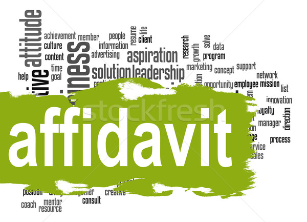 Affidavit word cloud with green banner Stock photo © tang90246
