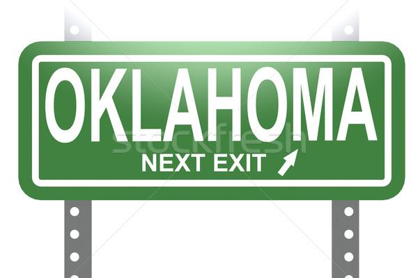 Оклахома зеленый знак совета изолированный изображение Сток-фото © tang90246