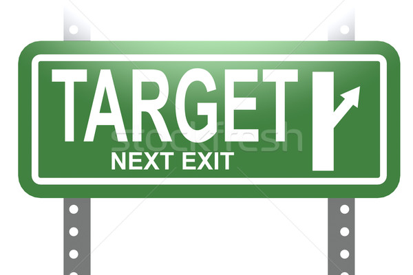 Target green sign board isolated Stock photo © tang90246