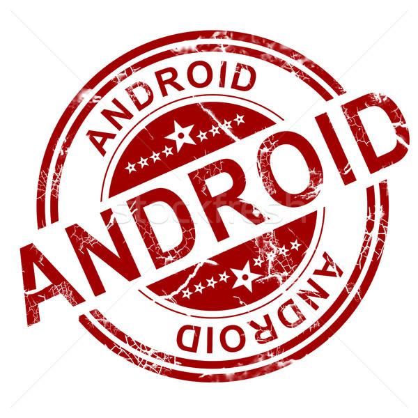 Android pieczęć biały 3D telefonu Zdjęcia stock © tang90246