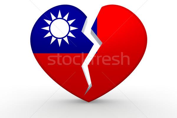 Сток-фото: сломанной · белый · формы · сердца · республика · флаг · 3D