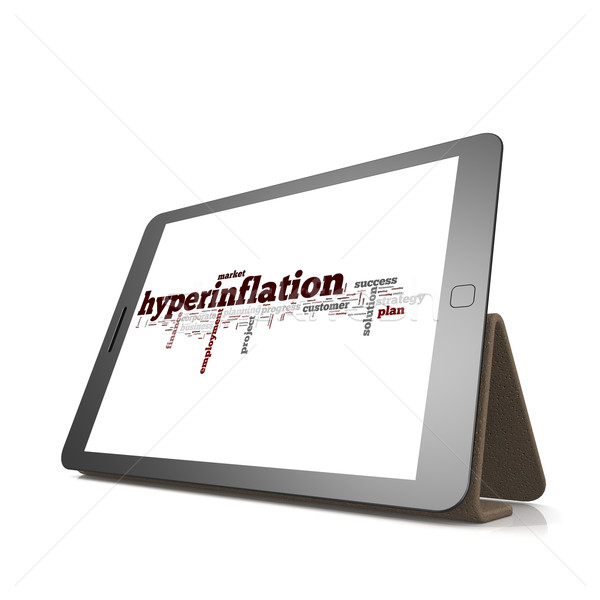 Hyperinflation word cloud on tablet Stock photo © tang90246