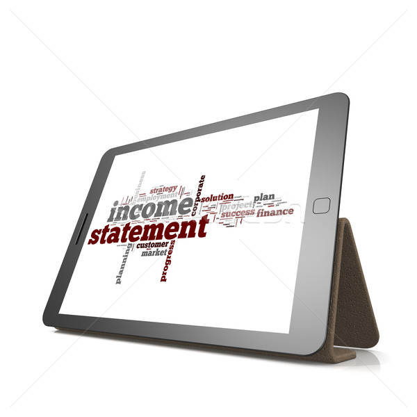 Stock photo: Income statement word cloud on tablet