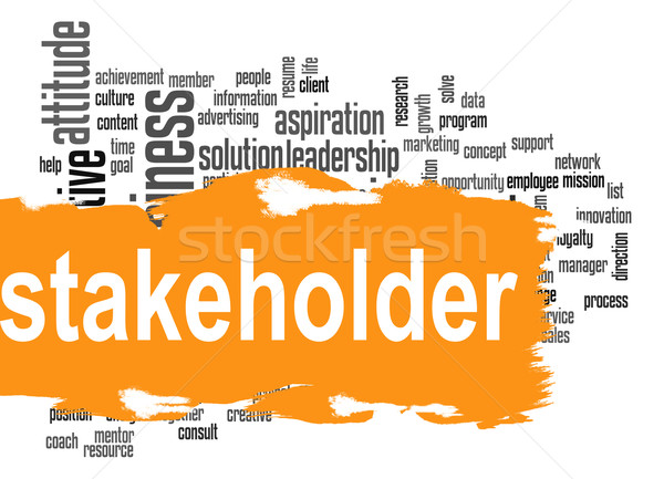 Stakeholder word cloud with yellow banner Stock photo © tang90246