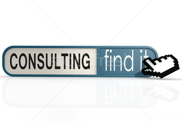 Consulting word on the blue find it banner Stock photo © tang90246