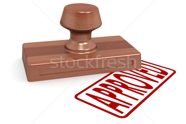 Wooden stamp approved with red text Stock photo © tang90246