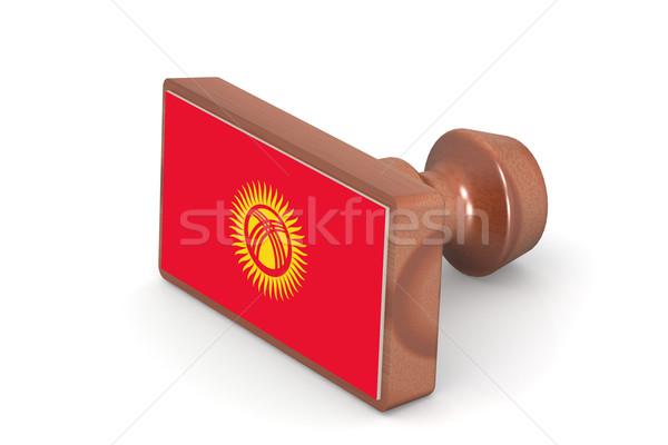 Ahşap damga Kırgızistan bayrak görüntü render Stok fotoğraf © tang90246