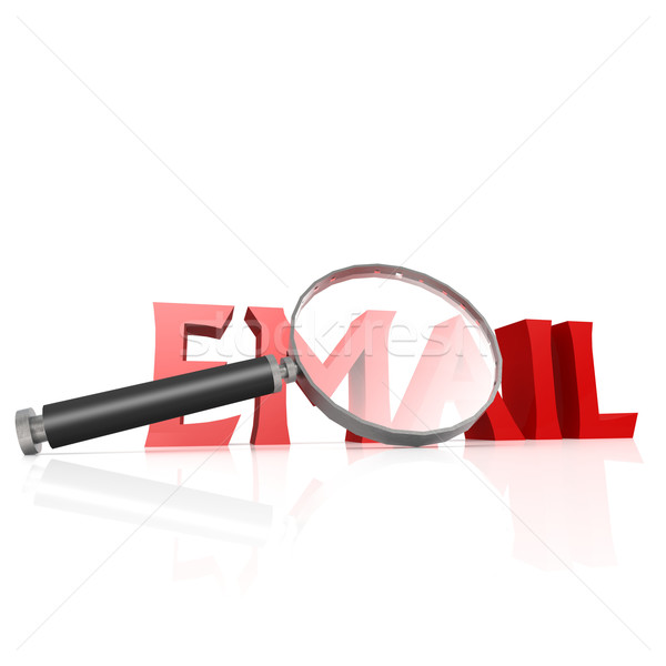 Magnifying Glass With Red Email Word Stock Photo Yann Song Tang