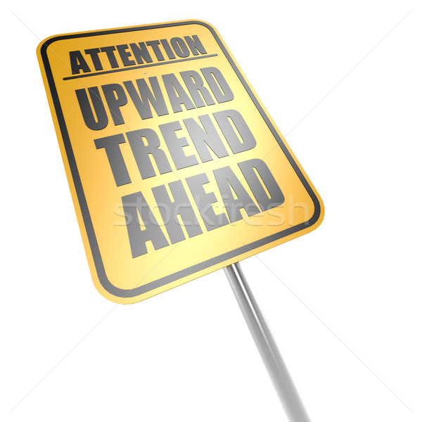 Upward trend ahead road sign Stock photo © tang90246