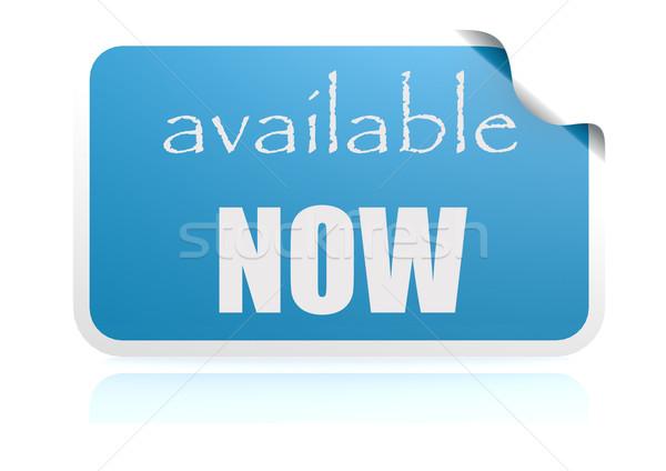 Foto stock: Agora · azul · adesivo · imagem · prestados