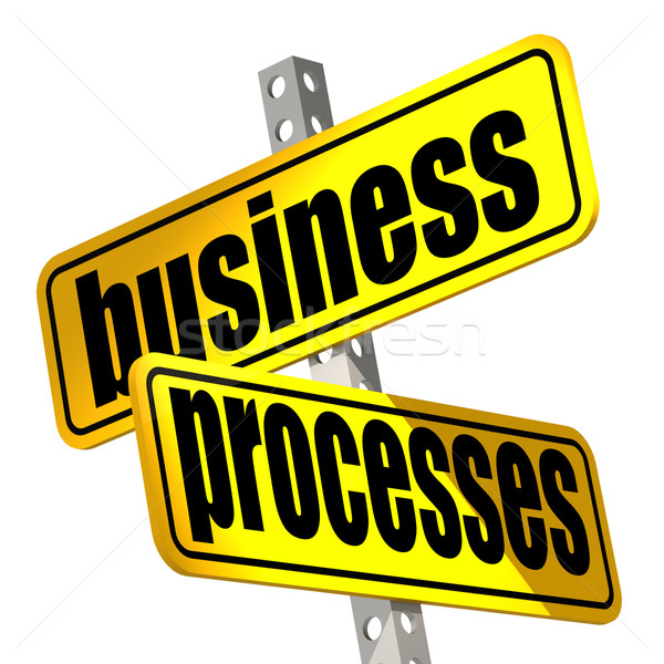Yellow road sign with business processes word Stock photo © tang90246