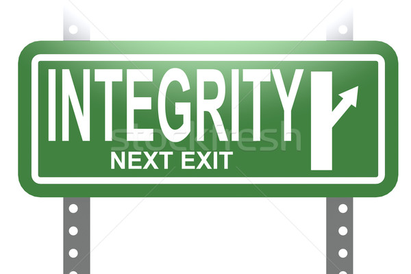 Integrity green sign board isolated Stock photo © tang90246