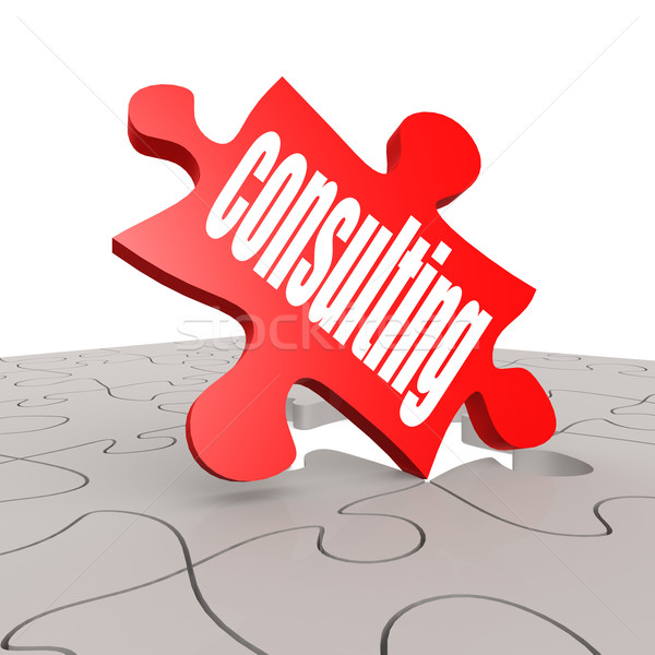 Consulting word with puzzle background Stock photo © tang90246