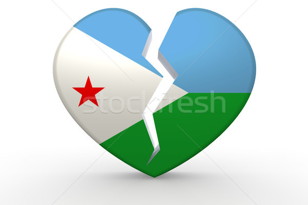 Broken white heart shape with Djibouti flag Stock photo © tang90246