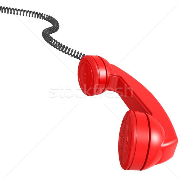 Piros telefonkagyló telefon telefon kapcsolat beszéd Stock fotó © tang90246