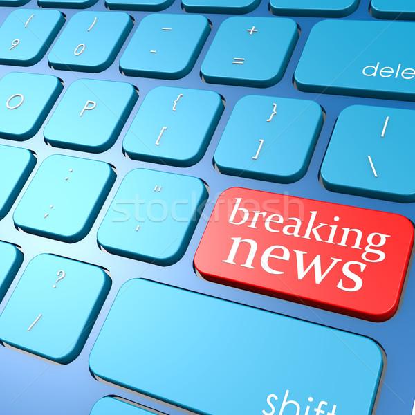 Breaking news keyboard Stock photo © tang90246