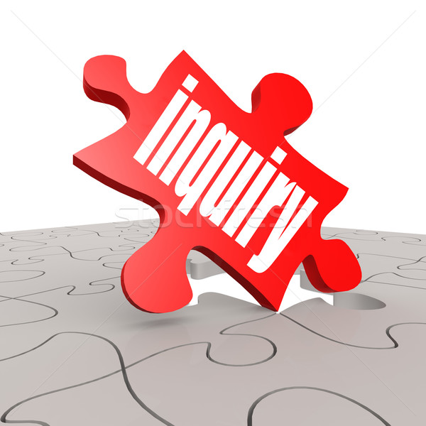 Inquiry word with puzzle background Stock photo © tang90246