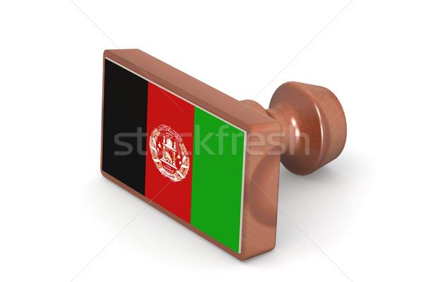 Ahşap damga Afganistan bayrak görüntü render Stok fotoğraf © tang90246