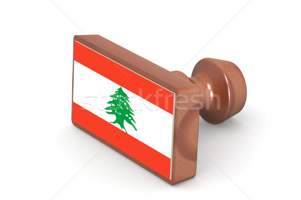Houten stempel Libanon vlag afbeelding gerenderd Stockfoto © tang90246