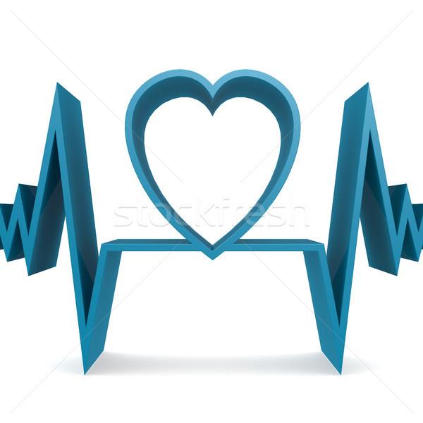 青 心臓の形態 パルス 画像 3D レンダリング ストックフォト © tang90246