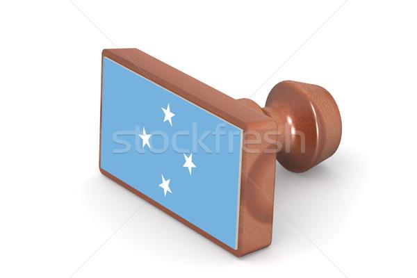 木製 スタンプ ミクロネシア フラグ 画像 レンダリング ストックフォト © tang90246