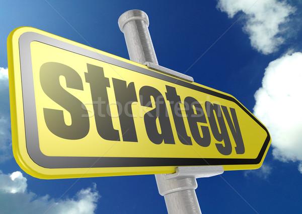 Сток-фото: желтый · дорожный · знак · стратегия · слово · Blue · Sky · изображение