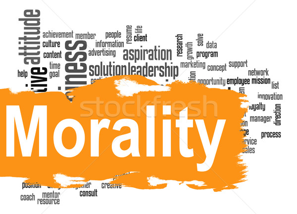Moraliteit woordwolk Geel banner afbeelding gerenderd Stockfoto © tang90246