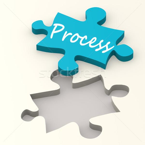 Folyamat kék puzzle kép renderelt mű Stock fotó © tang90246