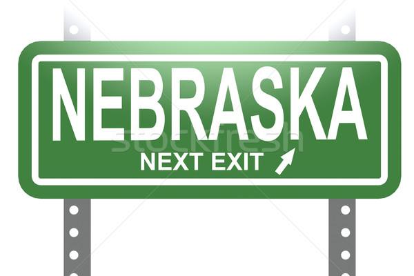 Nebraska zöld felirat tábla izolált kép Stock fotó © tang90246